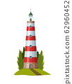 Vector flat lighthouse. Cartoon landscape. Searchlight tower for maritime navigational guidance. Architecture object. Flat building lighthouse on bank 62960452