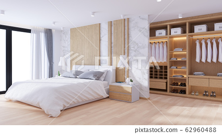 Modern  luxury Bedrooms and dressing room interior design,3d render 62960488