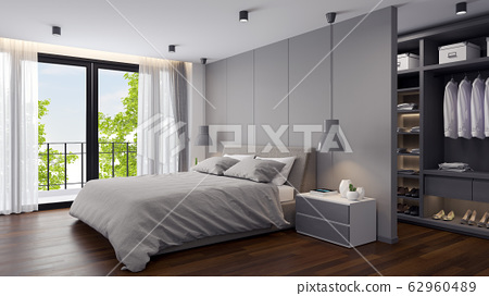 Modern  Bedrooms and  dressing room interior ,Gray room concept ,3d render 62960489