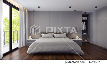Modern  Bedrooms and  dressing room interior ,Gray room concept ,3d render 62960490