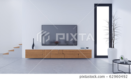White Modern living room design and Cozy Living style, Wooden tv cabinet on concrete floor,3d render 62960492