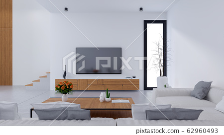 White Modern living room design and Cozy Living style, White sofa with Wooden tv cabinet on concrete floor,3d render 62960493