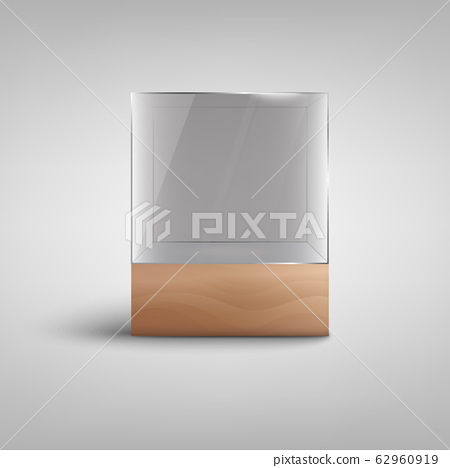 Empty glass showcase box - realistic mockup of object display stand 62960919