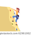 Cartoon woman rock climbing on yellow boulder with colorful holds 62961002