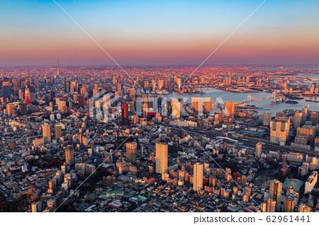 東京的鳥瞰圖和夜景(羽田新路線) 62961441