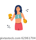 Young cute boxer girl performing at competitions 62961704