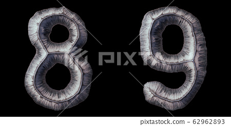 Set of numbers 8, 9 made of forged metal isolated on black background. 3d 62962893