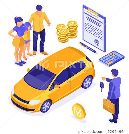 Sale Insurance Rental Sharing Car Isometric 62964964