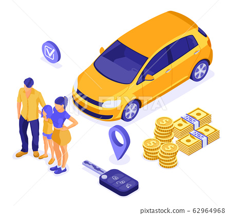 Sale Purchase Rental Sharing Car Isometric 62964968
