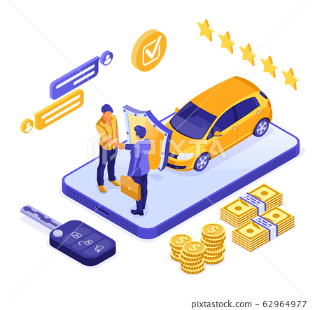 Online Sale Insurance Rental Sharing Car Isometric 62964977