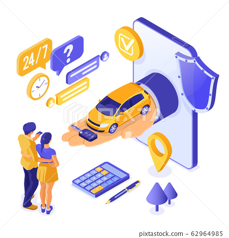 Online Sale Purchase Rental Sharing Car Isometric 62964985