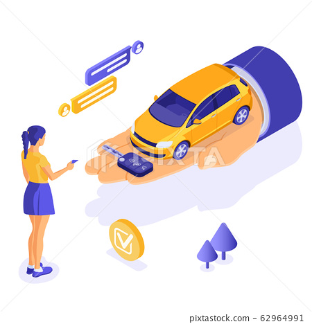 Sale Purchase Rental Sharing Car Isometric 62964991