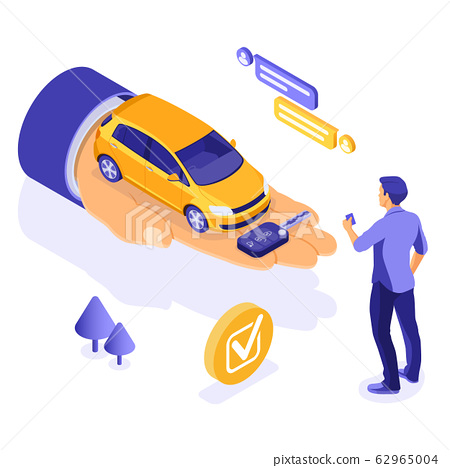 Sale Purchase Rental Sharing Car Isometric 62965004