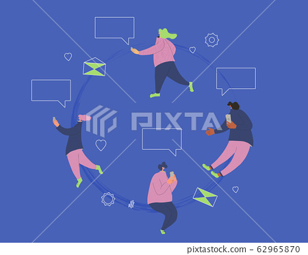 Chatting people with mobile phone. Vector person. 62965870