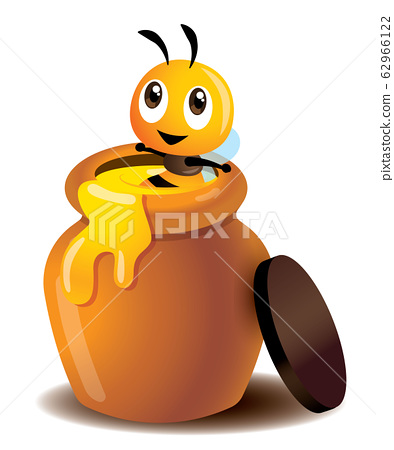 Cartoon cute bee enjoy soaking in a honey pot. Fresh honey leaking out from pot. Cute bee sitting in a fresh honey jar - vector character 62966122
