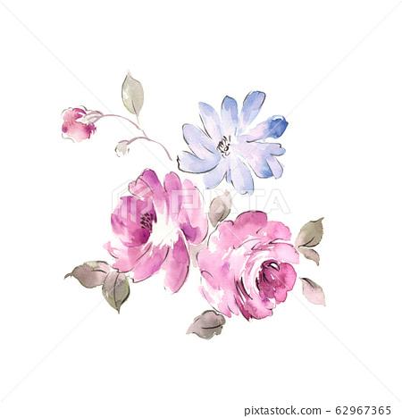 精緻的水彩花卉,優雅的水墨花 62967365