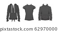 Fitness outfit clothes set. Gray Top sport wear design. Black Casual collection. Man and unisex sportswear clothe vector. Fashion style concept. Stock modern flat mockup illustration isolated white 62970000
