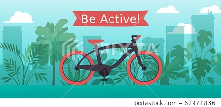 Sportive bicycle vector illustration with text be active, bike ride on blue city and plants background. 62971836