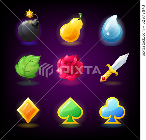 Colorful slots icon set for casino slot machine, gambling games, icons for mobile arcade and puzzle games vector 62972843