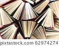 Old and used hardback books or text books seen from above. Books and reading are essential for self improvement, gaining knowledge and success in our careers, business and personal lives 62974274