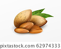 Realistic almonds with green leaves Isolated on a white background. Healthy eating concept. Vector illustration 62974333