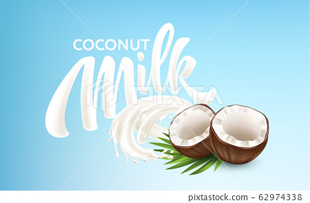 Realistic Bursts of Milk and Coconuts on a Blue Background. Milk Handwriting Lettering Calligraphy Lettering. Vector illustration 62974338