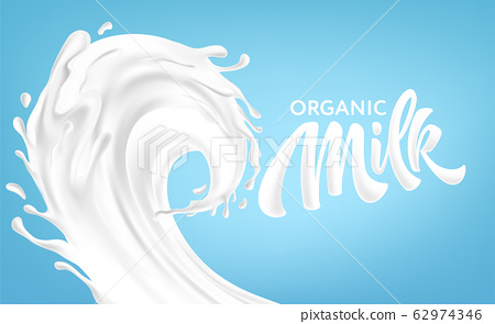 Realistic splashes of milk on a blue background. Organic Milk Handwriting Lettering Calligraphy Lettering. Vector illustration 62974346