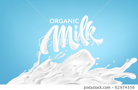 Realistic splashes of milk on a blue background. Organic Milk Handwriting Lettering Calligraphy Lettering. Vector illustration 62974356