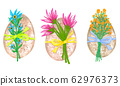 Easter eggs with bouquets of flowers, illustration 62976373