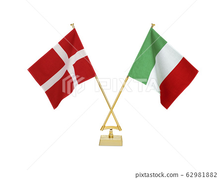 두 나라의 탁상 국기 62981882