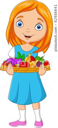 Little girl holding a basket of fruits 62986641