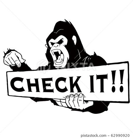 检查现实大猩猩的插图!标语牌黑色和白色 62990920