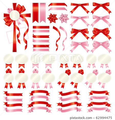 紅色和粉色絲帶漸變的變化集 62994475
