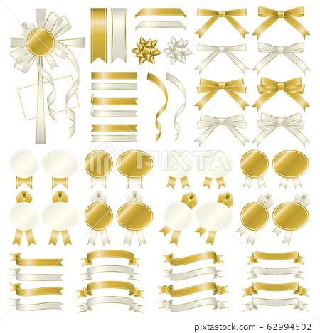 금색과 흰색 리본 변형 세트 그라데이션 62994502