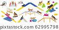 Dog playground equipment set. Colour flat playing 62995798