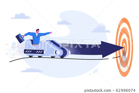 Business man in suit with case riding a roller coaster with arrow to the goal. Entrepreneur going to his aim in the trolley wagon with strong intention. Way to success and achieve the target concept. 62996074