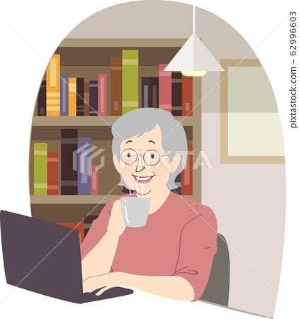 Senior Woman Laptop Coffee Library Illustration 62996603