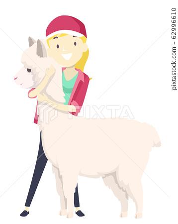 Girl Save Alpaca Illustration 62996610