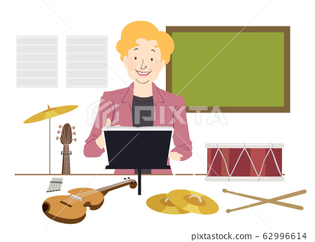 Girl Music Teacher Illustration 62996614