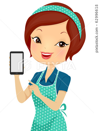 Girl Helper Phone Contact Illustration 62996618