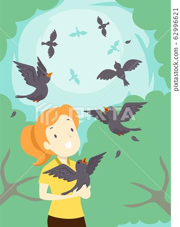 Girl Birds Rehabilitation Free Illustration 62996621
