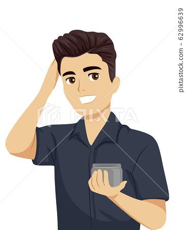 Teen Boy Apply Hair Pomade Illustration 62996639