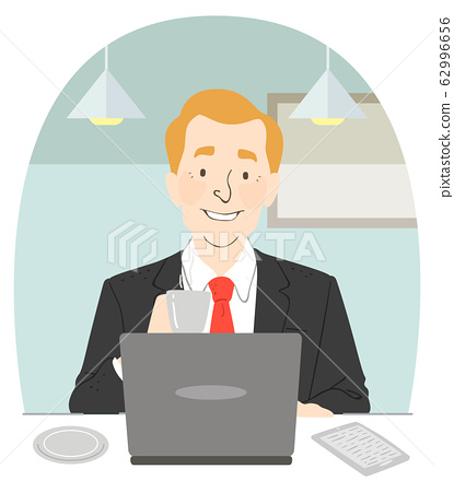 Man Suit Coffee Laptop Cafe Illustration 62996656