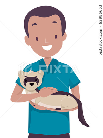 Man Save Ferret Illustration 62996663