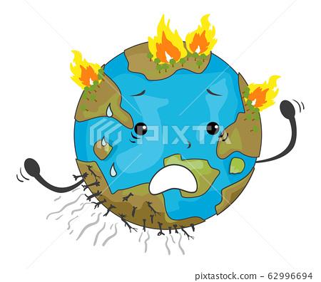 Earth Mascot Wildfire Illustration 62996694