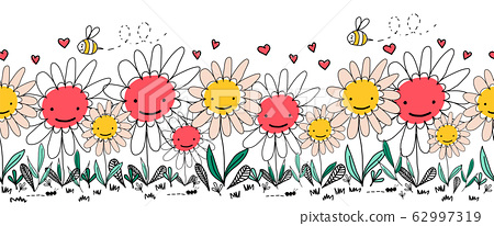 Seamless vector border doodle flowers, bees and ants. Kids repeating border. Children style hand 62997319