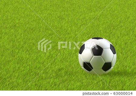 3D 렌더링 의한 축구 공과 잔디 그라운드의 일러스트 63000014