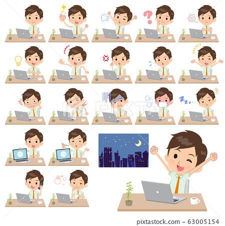 school boy pale green shirt summer_desk work 63005154
