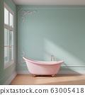 Bathroom with pink bathtub rendering 63005418