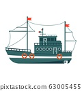 Commercial fishing boat side view . Sea or ocean transportation, marine ship for industrial seafood 63005455
